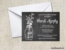 Wedding Bridal Shower Mason Jar Chalkboard Invitations Personalized Custom - $0.99+