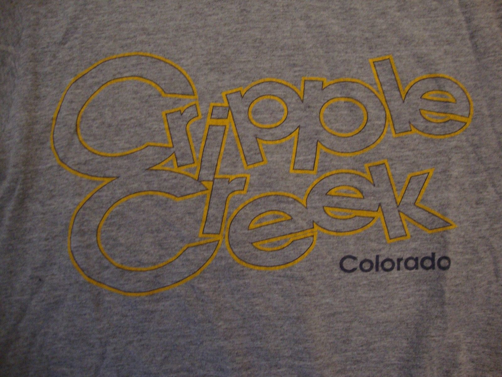 Primary image for Vintage Cripple Creek Colorado Tourist Souvenir Gray Cotton T Shirt Size S