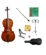 Merano 3/4 Size Natural Cello with Bag and Bow+Extra Strings+2Stands+Tun... - $199.99