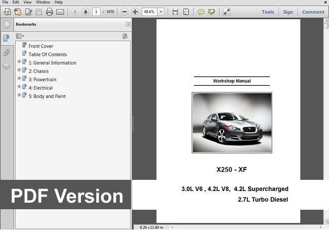 Jaguar Xf Xfr 2008 - 2009 Factory Service Repair Workshop Manual