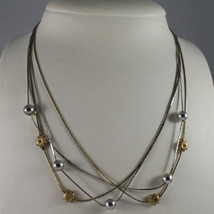 .925 SILVER RHODIUM AND YELLOW GOLD PLATED NECKLACE WITH SPHERES AND SUN image 1