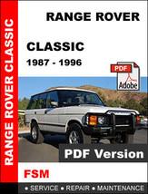 Range Rover Classic 1987   1996 Factory Service Repair Workshop Shop Fsm Manual - $14.95