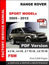 Range Rover Sport 2005   2012 Factory Service Repair Workshop Fsm Manual - $14.95