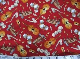 1/2 yd music/piano/sax/bass/drums red quilt fabric -free shipping