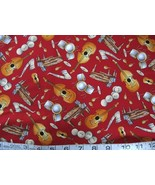 1/2 yd music/piano/sax/bass/drums red quilt fabric -free shipping - $6.99