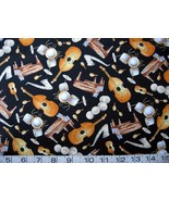 1/2 yd music/piano/sax/bass/drums black quilt fabric -free shipping - $6.99