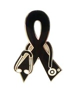 Black Ribbon Lapel Pin Awareness Stethoscope Nu... - $10.97
