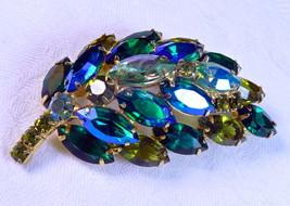 D&E Juliana Peacock Blue, Emerald & Peridot AB Rhinestone Brooch, Verified, MINT - $51.99