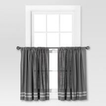 "Pair of Cafe Curtain Panels Gray & Lt Gray Stripe 42"" X 36"" Light Filtering - $18.00"