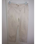 H & M LADIES POLYESTER/COTTON STRETCH CROPPED PANTS-8-WORN ONCE-SAND-SHI... - $9.85