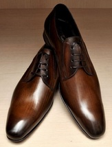 Burnished Brown Tone Burnished Rounded Toe Premium Genuine Leather Oxford Shoes - $139.90+