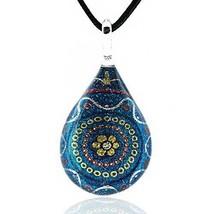 Chuvora Hand Blown Murano Glass Multi-Color Blue Flower Mandala Art Pend... - $24.01