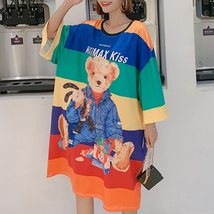 Maternity Dress Cartoon Lovely Bear Pattern O Neck Loose Comfy Dress image 2