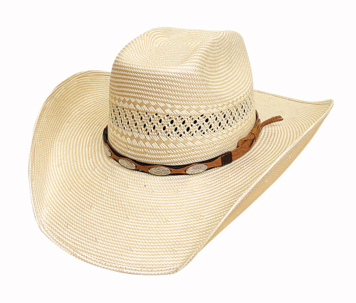 Primary image for Bullhide Fortunate One Cowboy Hat 100X Shantung Panama Straw Oval Conchos Tan
