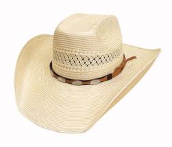 Bullhide Fortunate One Cowboy Hat 100X Shantung Panama Straw Oval Concho... - $79.00