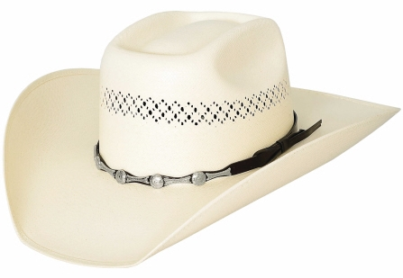 Primary image for Bullhide SIlver City Cowboy Hat 100X Shantung Panama Straw Conchos Natural