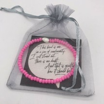 LOVE Beaded Stretch Bracelet Neon Hot Pink Gift Handmade in the USA -NEW... - $12.99