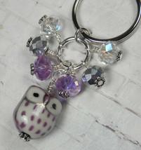 Purple Owl Cluster Keychain Ceramic Crystal Beaded Handmade Split Key Ri... - $14.54