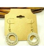 Monet CZ Diamond Circle Matt Gold Tone Dangle Earrings - $4.00