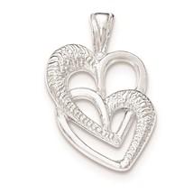 .925 Sterling Silver 2 Hearts Charm Pendant - QP4439VJ6647 - $9.52