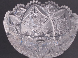 American Brilliant Period Hand Cut Glass Antique  bowl ABP  Elmira - $129.62