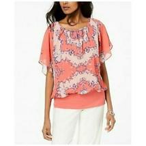 JM Collection Flutter Sleeve Banded Hem Top Dusty Coral Northshore Women... - $49.01