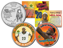 LEBRON JAMES * High School & Rookie of the Year * Ohio Quarters 2-Coin U... - $9.46