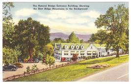 Vintage Linen Postcard Natural Bridge Entrance Building VA - $4.95