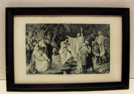 Circa 1880 Photogravure Charlemagne at Witikind's Baptism by Paul Thumann, Frame - $10.95
