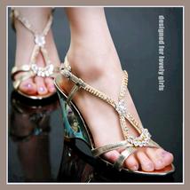 DiVA Gentlewomen's Satin Wedge Rhinestone 3 inch High Heel Gold Sandals