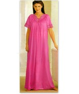 Rose Pink Long Nightgown M High Back Lace Trim - $22.75