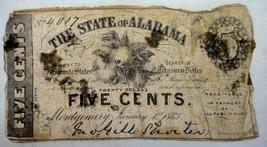 1863 antique 5 CENTS CONFEDERATE CURRENCY civil war AL - $124.95