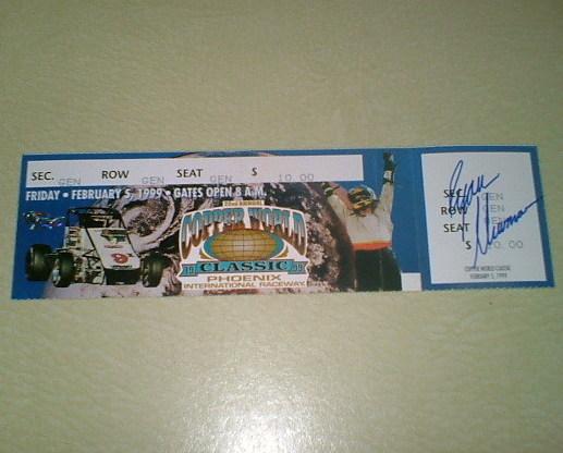 Ryan Newman Autographed USAC racing ticket stub Nascar