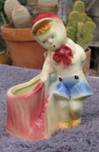Vintage Shawnee Art Pottery 533 Little Boy at Stump Figural Planter - $18.99