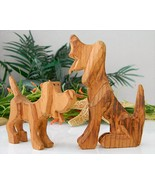 Pair Hound Dog Figurines Hand Carved Wood 1995 ... - $17.95