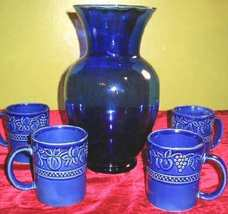 Cobalt Blue Glass Vase & 4 Ceramic Cups Ambiance - $19.99