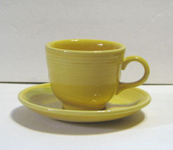 Fiesta Ware HLC Yellow Cup and Saucer Contemporary - $18.99