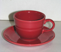 Fiesta Ware HLC Red Cup and Saucer Contemporary - $18.99