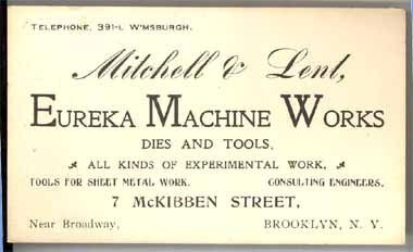 Lent Eureka Machine Works tools antique business trade card Brooklyn trade