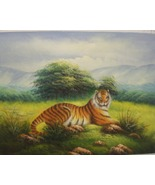 """An Original Oil Painting """"Tiger in the Grass"""" Signed by Artist K. Harrison  - $50.00"""