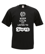 Keep calm and listen to blink funny t shirt front black thumbtall