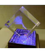 Rose Flower Etched Glass Cube #2 (watch it change colors on a lighted base) - $4.50