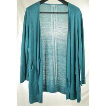 Eileen Fisher sweater cardigan SZ L teal 100% linen knit pockets soft long s image 4