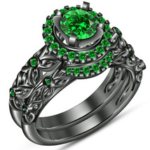 1Ct Round Emerald 14K Black Gold Fn Leaf Style Wedding Bridal Ring Set  - $99.99