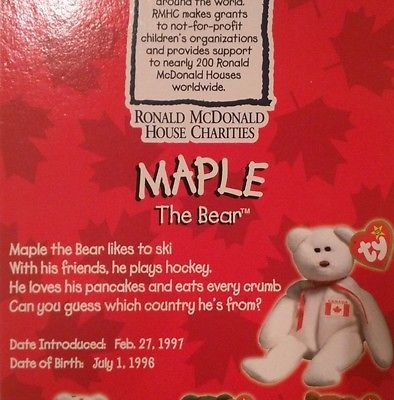 TY TEENIE BEANIE BABIES 1997 RONALD MCDONALD HOUSE CHARITIES ~MAPLE THE BEAR~ image 6