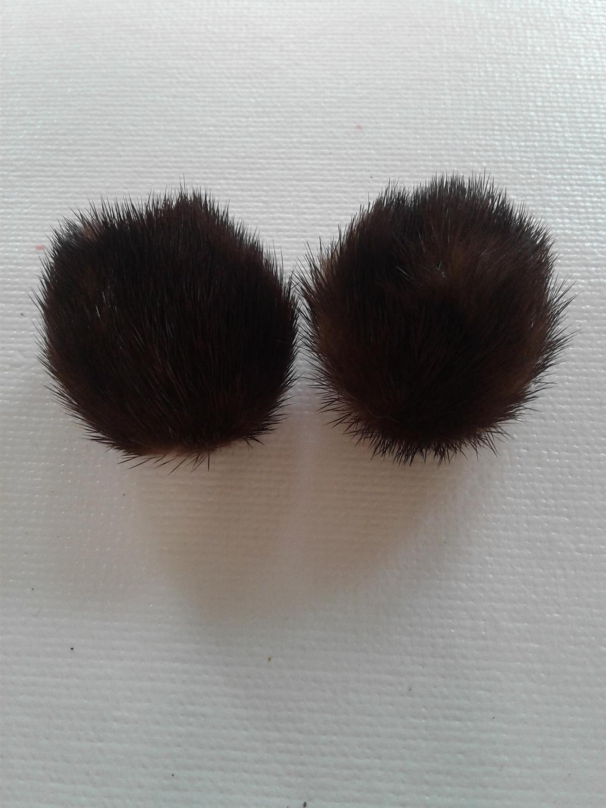 Vintage Mink Fur Clip Earrings