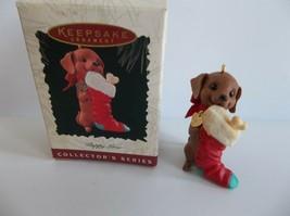 Hallmark Dachshund Stocking Puppy Love 6th in Series Dog 1996 Ornament - $9.99