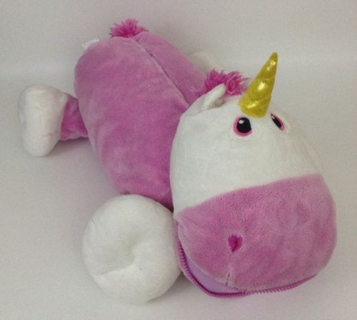 "2011 Stuffies Pink and White PRANCINE Unicorn Pillow 20"" Pocket Stuff-able Plush"