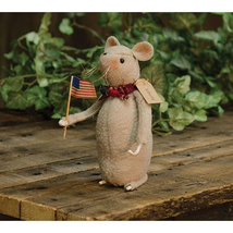 primitive country rustic patriotic decor Liberty MOUSE w American flag 6... - $34.99