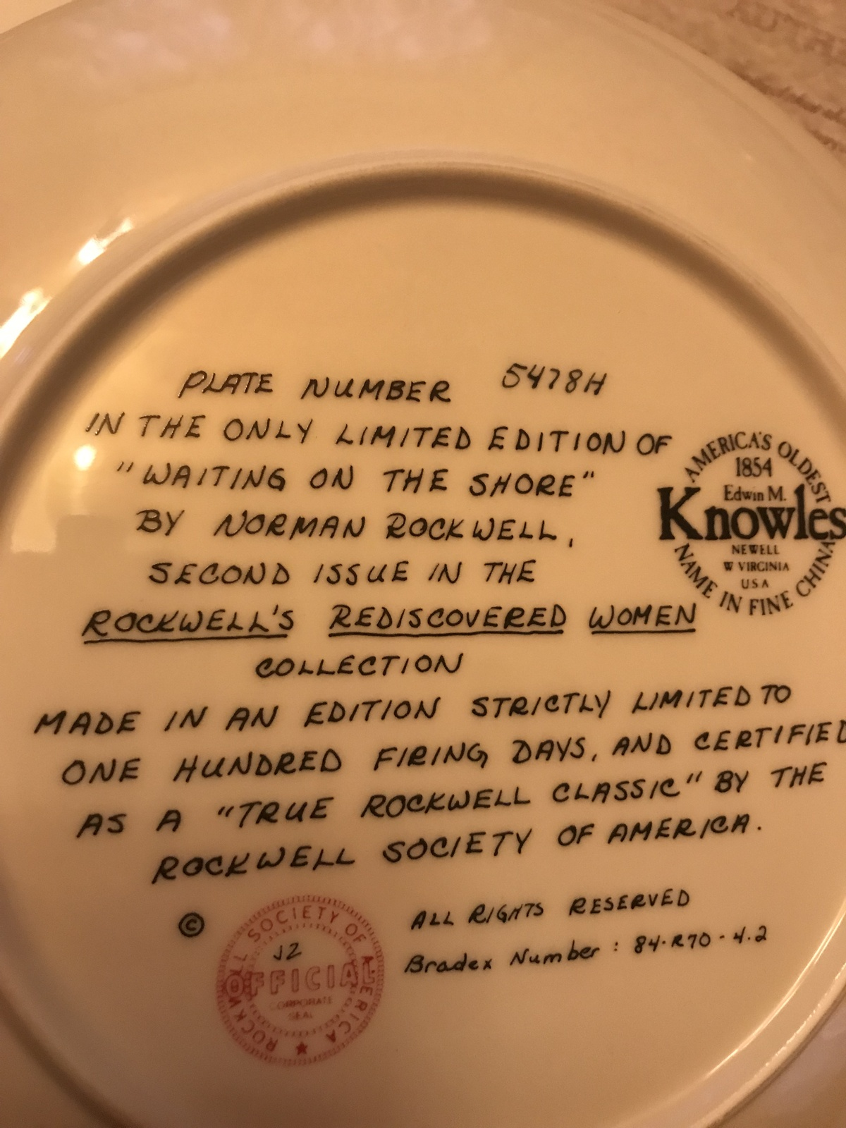 Knowles - Waiting On The Shore - Ltd Ed 1981 - 5478H